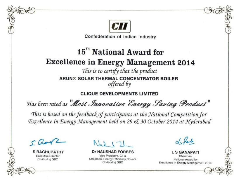 Award Certificate CII 15th National Award for Excellence in Energy Management 2014 Most Innovative Energy Efficient