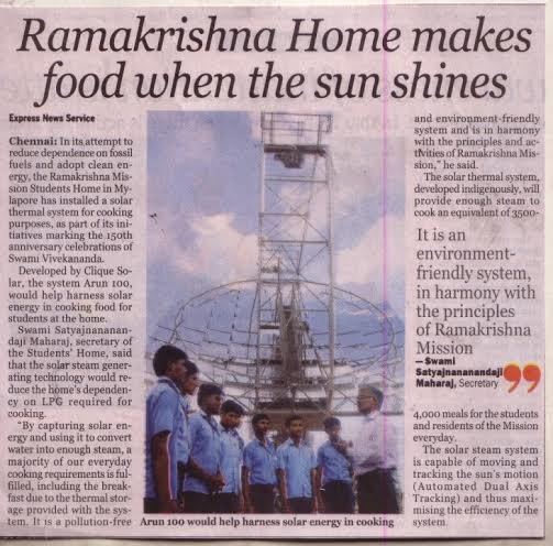 Solar Cooking at Ramakrishna Mission students home